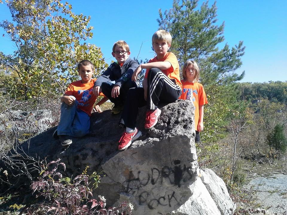 kids on rock